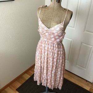 Free People Pink & Cream Spaghetti Strap Dress